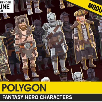 مدل سه بعدی POLYGON - شخصیت های قهرمان فانتزی برای یونیتی