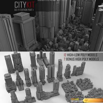 دانلود مجموعه سه بعدی کامل شهری CityKit Sci-Fi Edition
