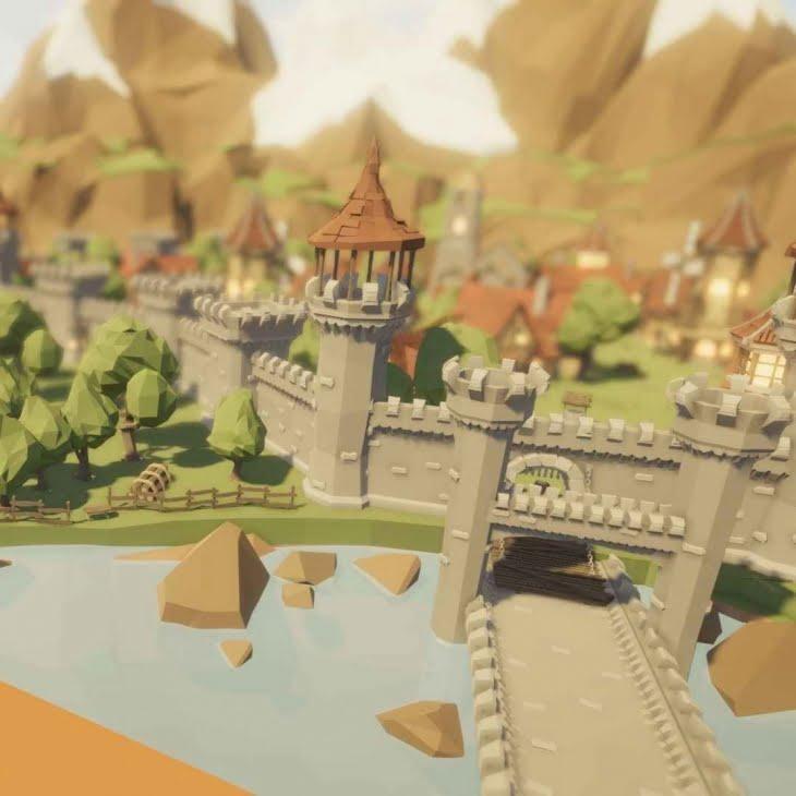مدل سه بعدی بسته قلعه قرون وسطایی Low Poly Medieval Castle برای انواع فرمت ها