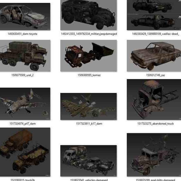 مدل سه بعدی 57 وسیله نقلیه خراب شده Damaged Vehicles برای انواع فرمت ها