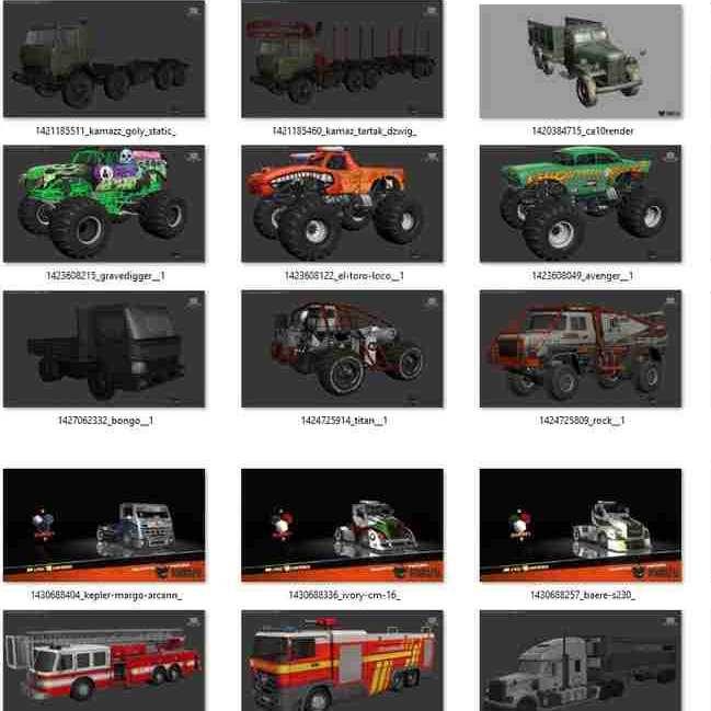 مدل سه بعدی 106 وسیله نقلیه Utility Vehicles برای انواع فرمت ها
