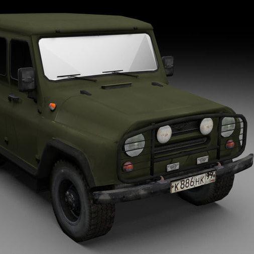 مدل سه بعدی اتومبیل جیپ UAZ برای انواع فرمت ها