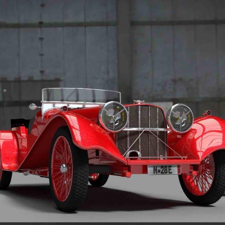 مدل سه بعدی اتومبیل جاگار 1936 Jaguar SS100 برای Autodesk Maya