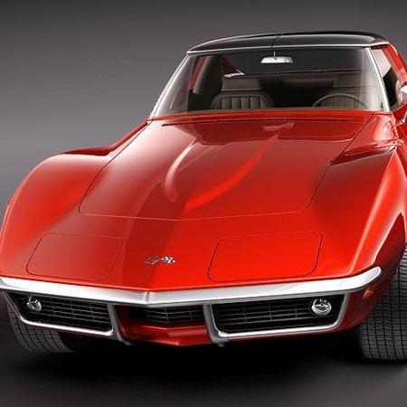 مدل سه بعدی اتومبیل شورلت Chevrolet Corvette C3 1969 برای انواع فرمت ها