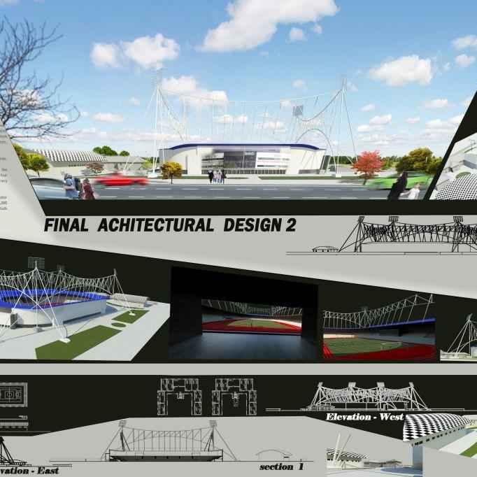 مدل سه بعدی و دو بعدی استادیوم فوتبال برای اتوکد