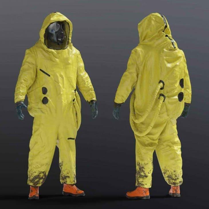مدل سه بعدی کت و شلوار ضد میکروب و باکتری NBC Hazmat برای انواع فرمت ها