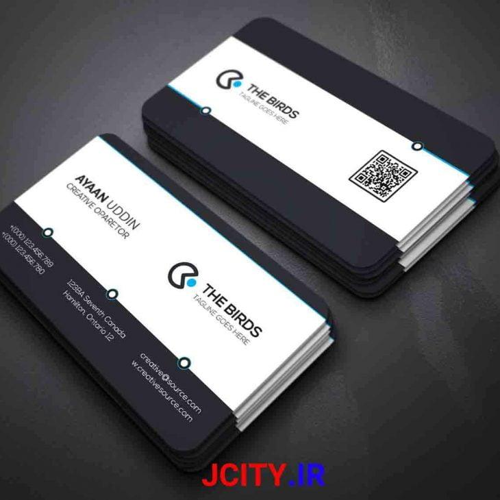 دانلود کارت ویزیت لایه باز PSD طرح مشکی سفید