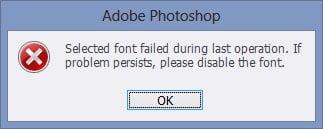 حل اخطار Selected font failed during last operation در فتوشاپ